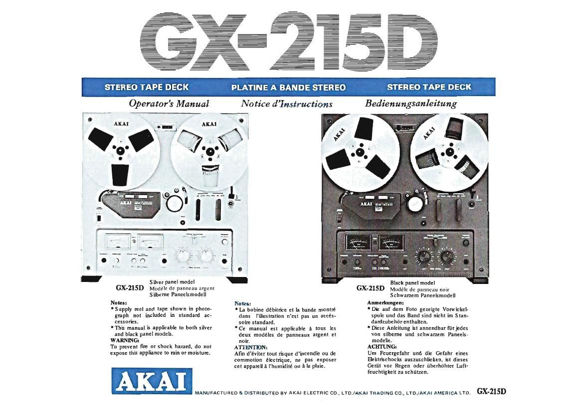 Akai GX 215D Owners Manual