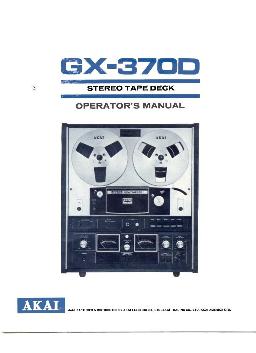 Akai GX 370 D Owners Manual