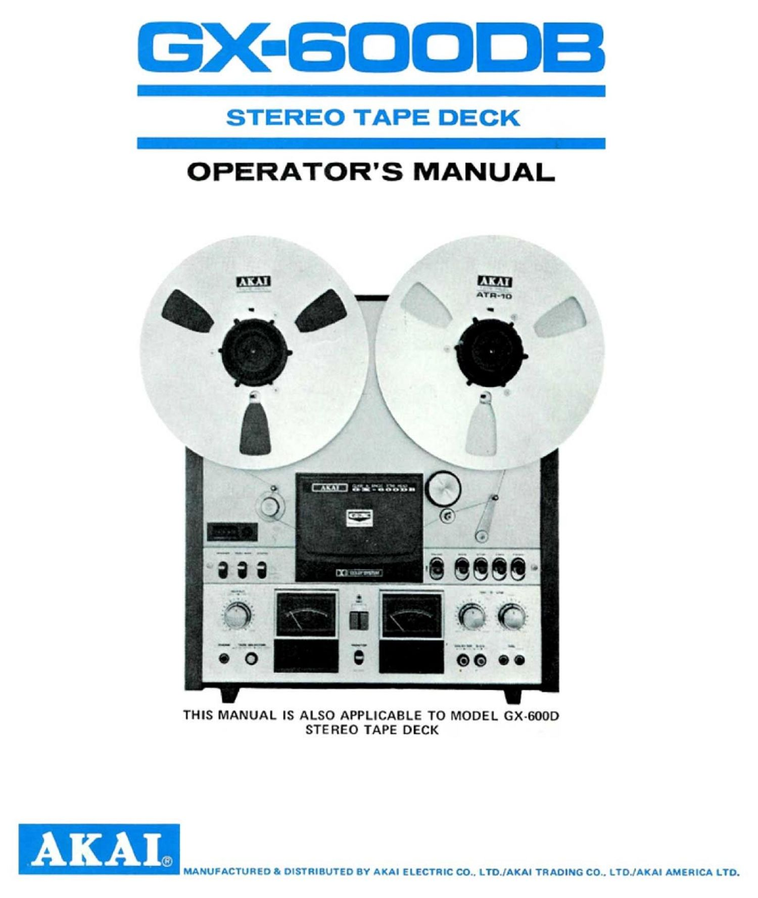 Akai GX 600 DB Owners Manual