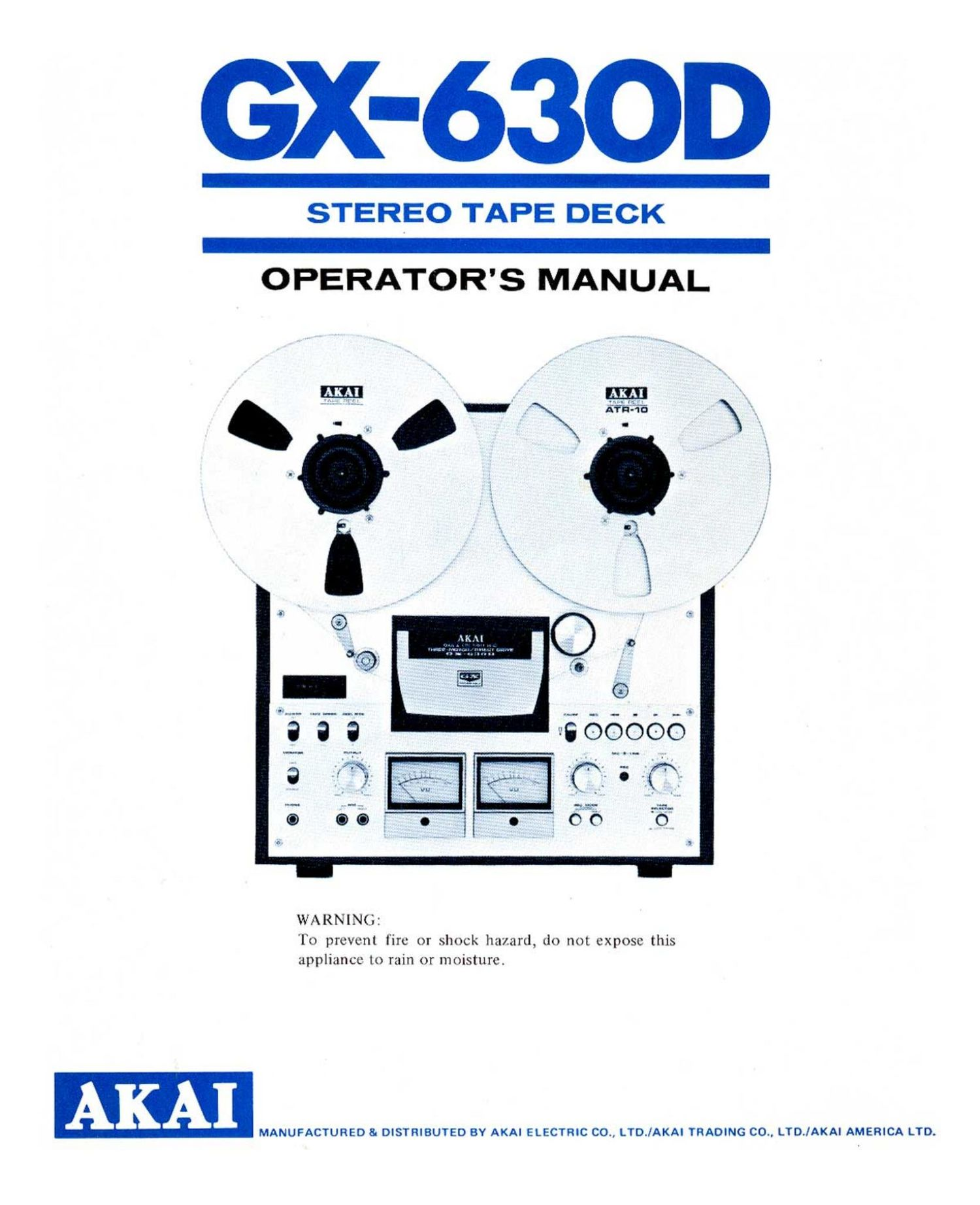 Akai GX 630 D Owners Manual
