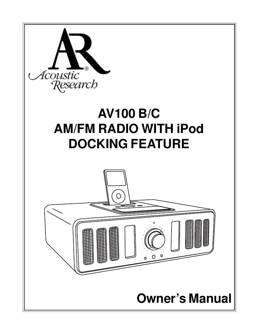 acoustic research AV 100 B Owners Manual