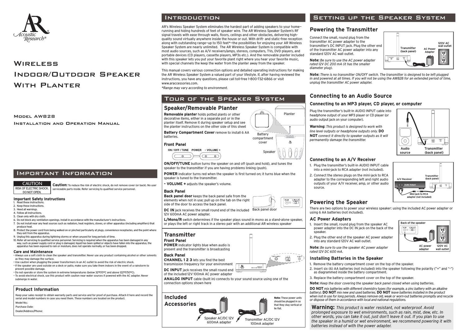 acoustic research AW 828 Owners Manual