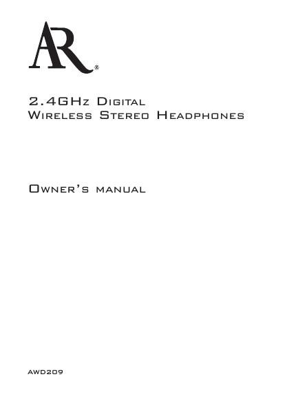 acoustic research AWD 209 Owners Manual