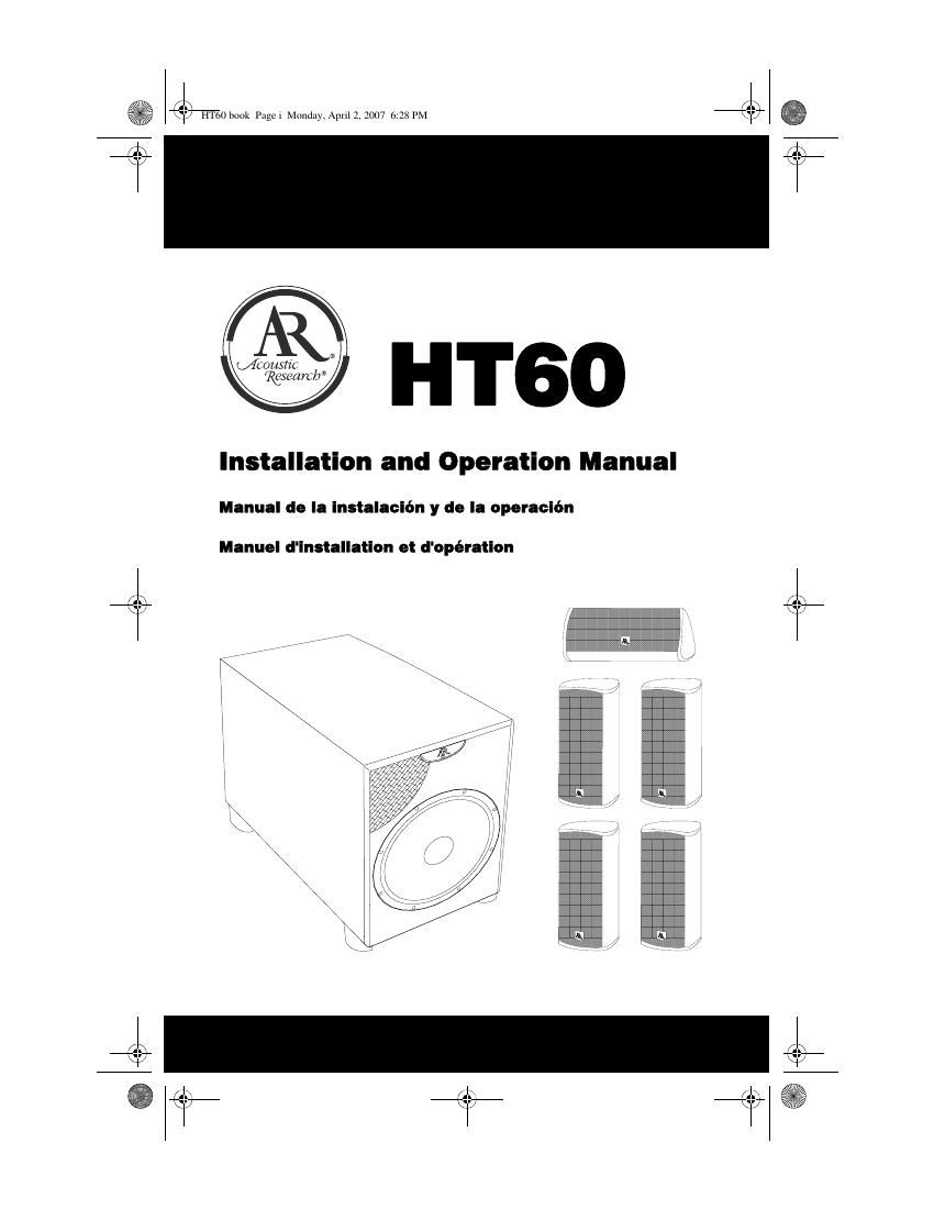 acoustic research HT60 Owners Manual