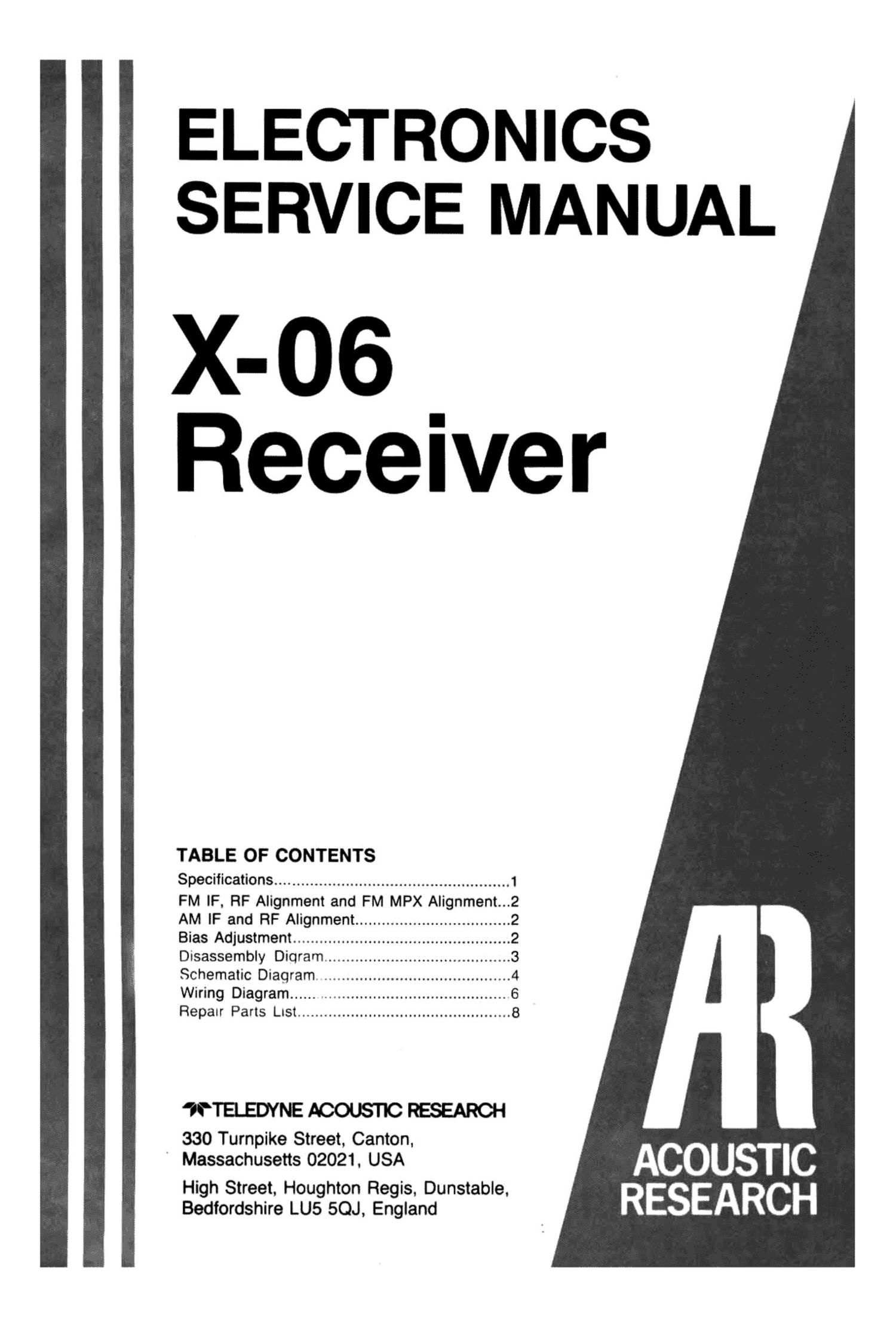acoustic research X 06 Service Manual