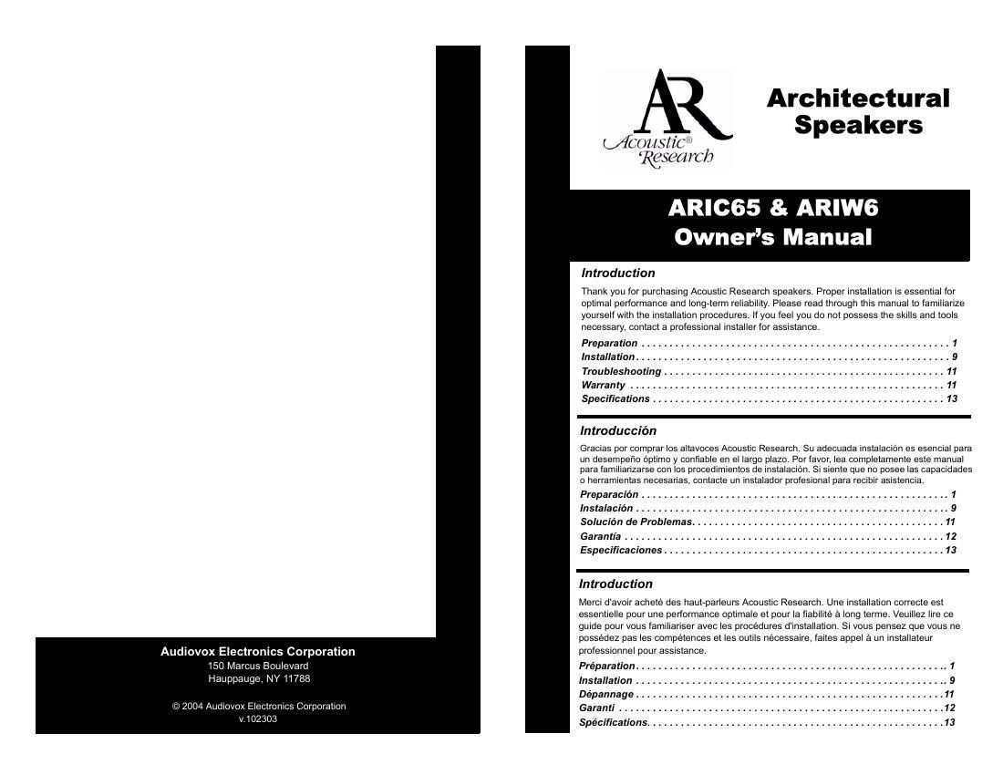acoustic research aric 65 owners manual