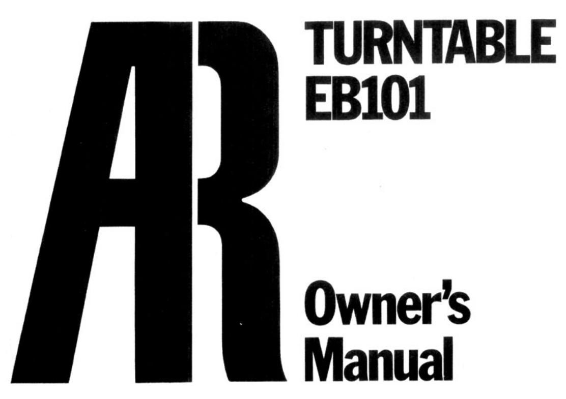 acoustic research eb 101 owners manual