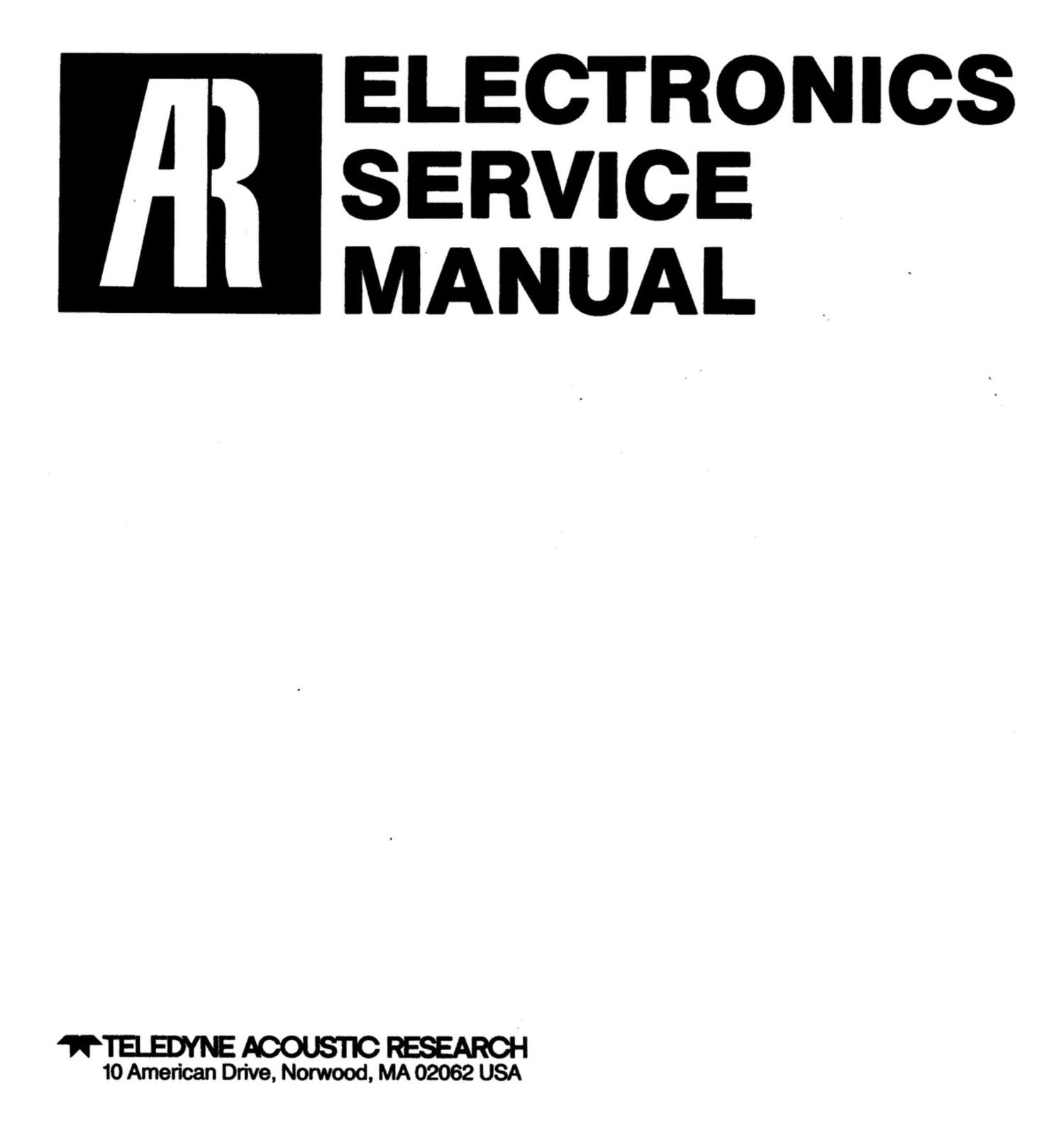 acoustic research tuner service manual