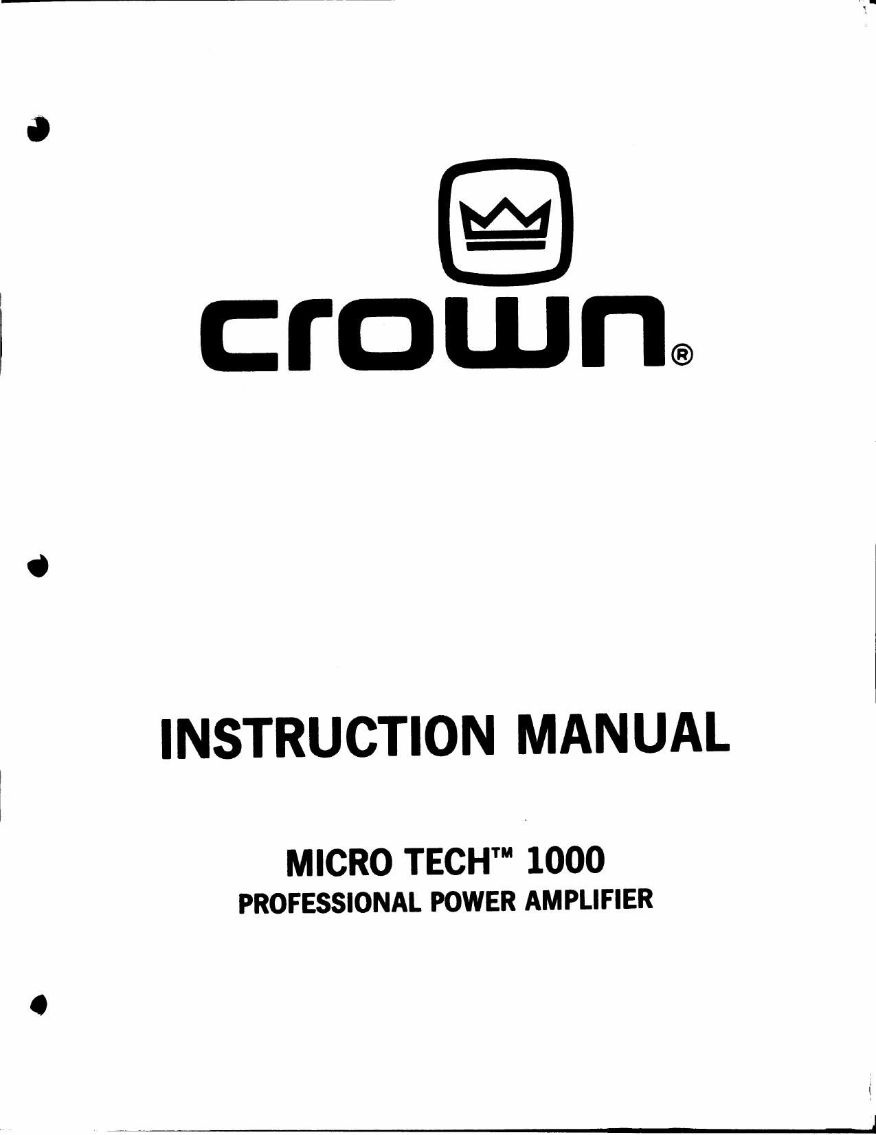 crown xls 6power amp manual Array - crown micro tech 1000 owners manual rh  audioservicemanuals ...