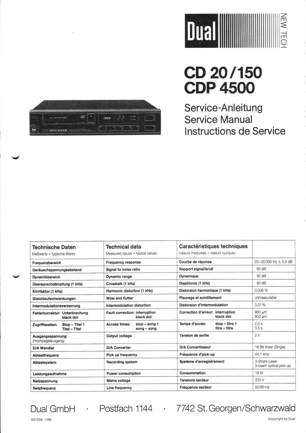 ... Array - dual cdp 4500 service manual rh audioservicemanuals ...