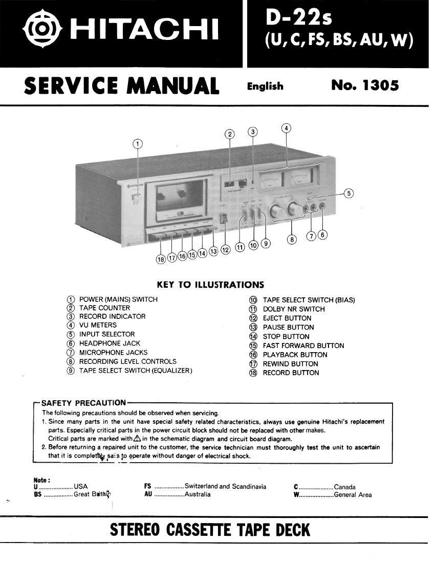 Download Hitachi D 22 S Service Manual
