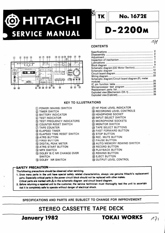 Free Download Hitachi D 2200 M Service Manual