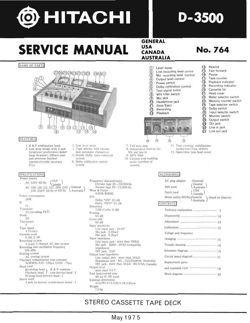 Download Hitachi D 3500 Service Manual