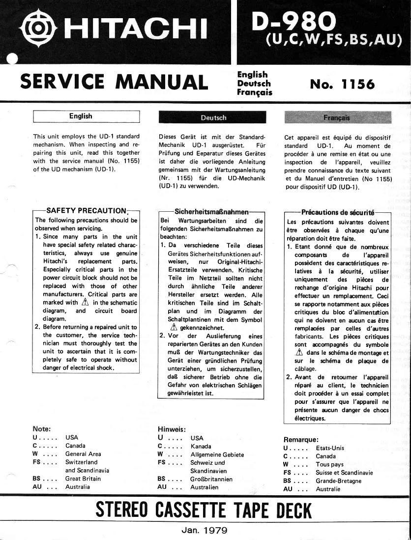 Download Hitachi D 980 Service Manual