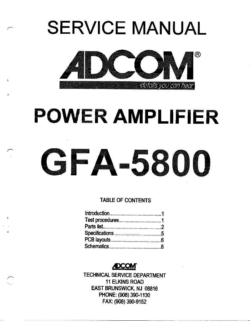adcom gfa 5800 service manual rh audioservicemanuals com Adcom 5800 Review adcom gfa 5800 service manual