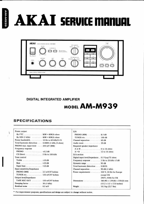 akai am m939 service manual rh audioservicemanuals com akai s5000 service manual akai s900 service manual