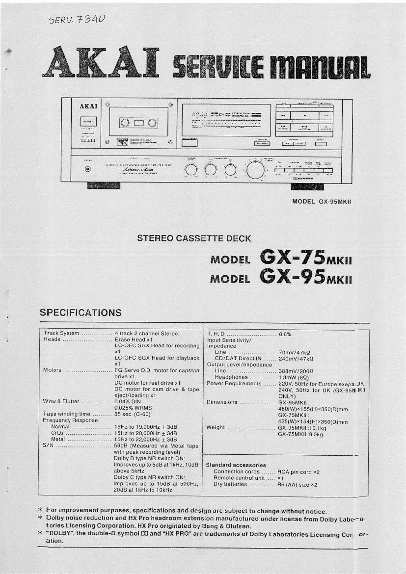 ... Array - akai gx 75 mk2 service manual rh audioservicemanuals ...