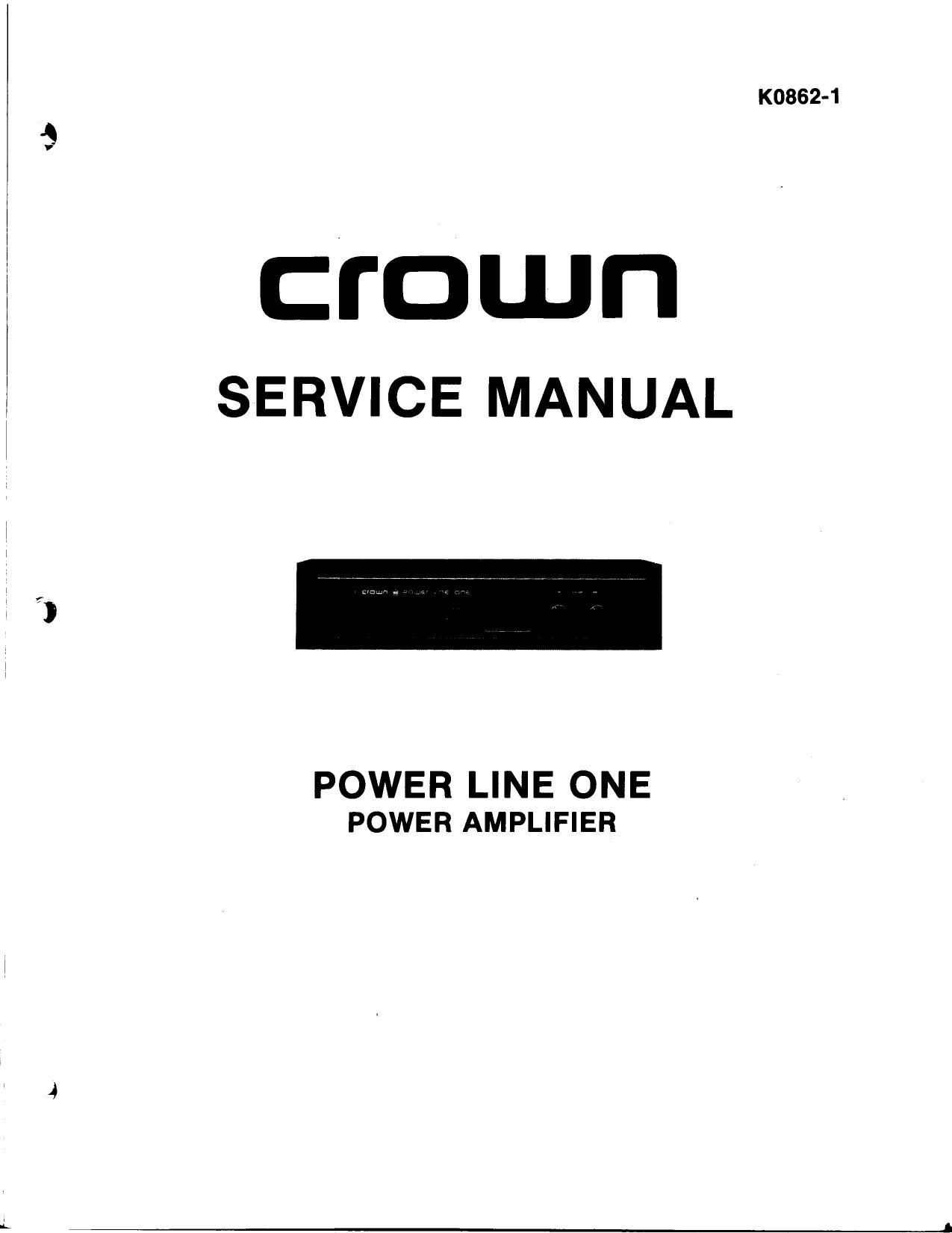 ... Array - crown power line one service manual rh audioservicemanuals ...