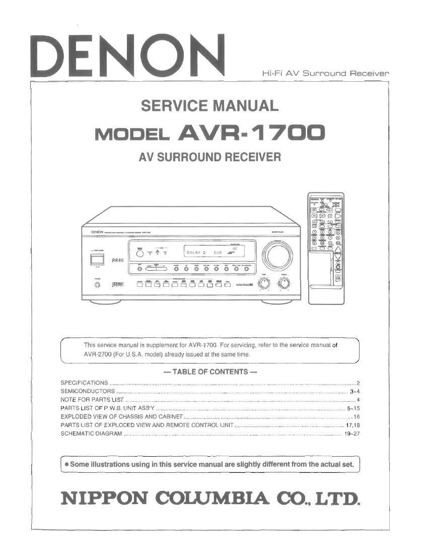 denon avr 1700 service manual rh audioservicemanuals com Denon Receivers Manuals denon avr 1700 service manual
