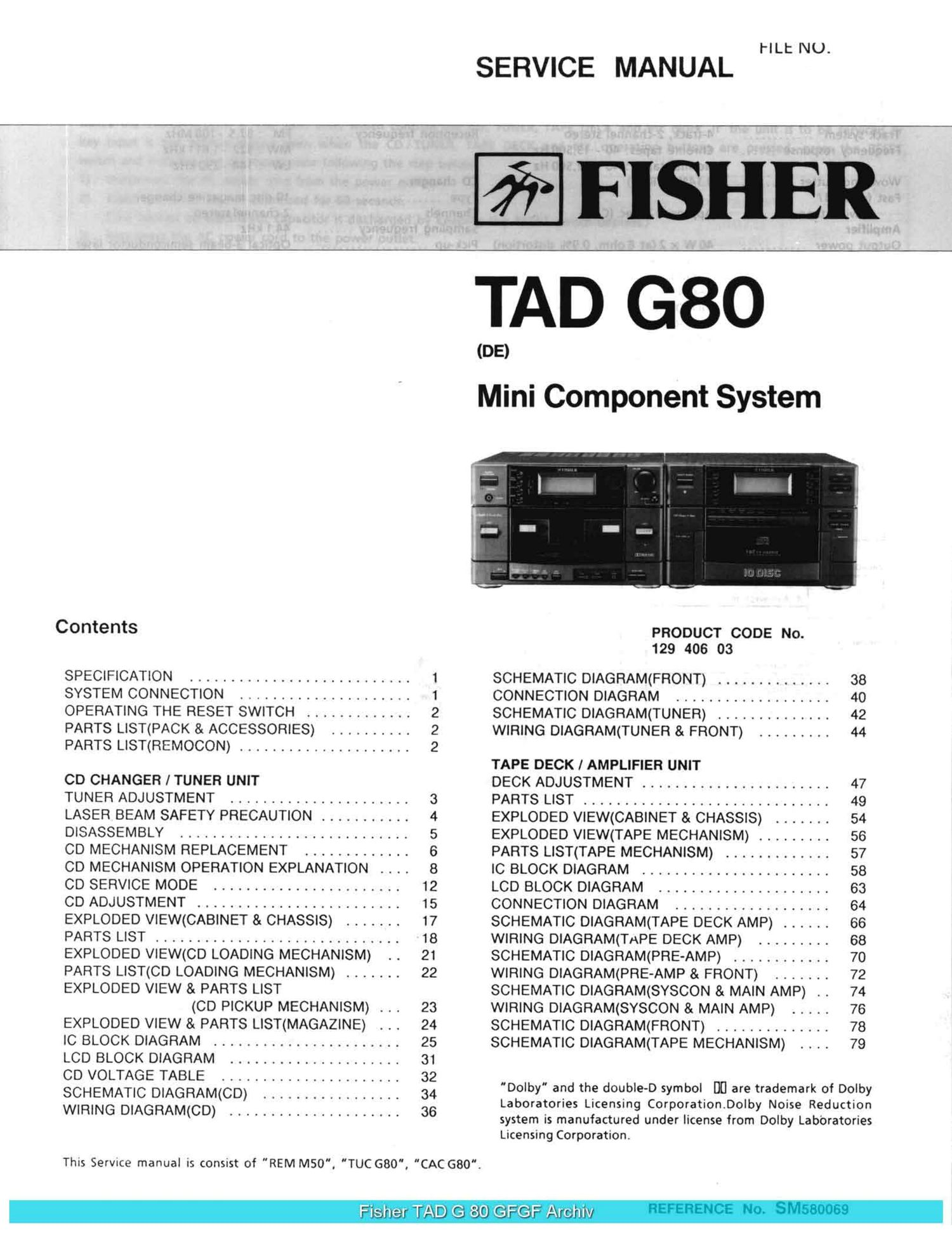 Fisher tad g80 service manual ccuart Image collections