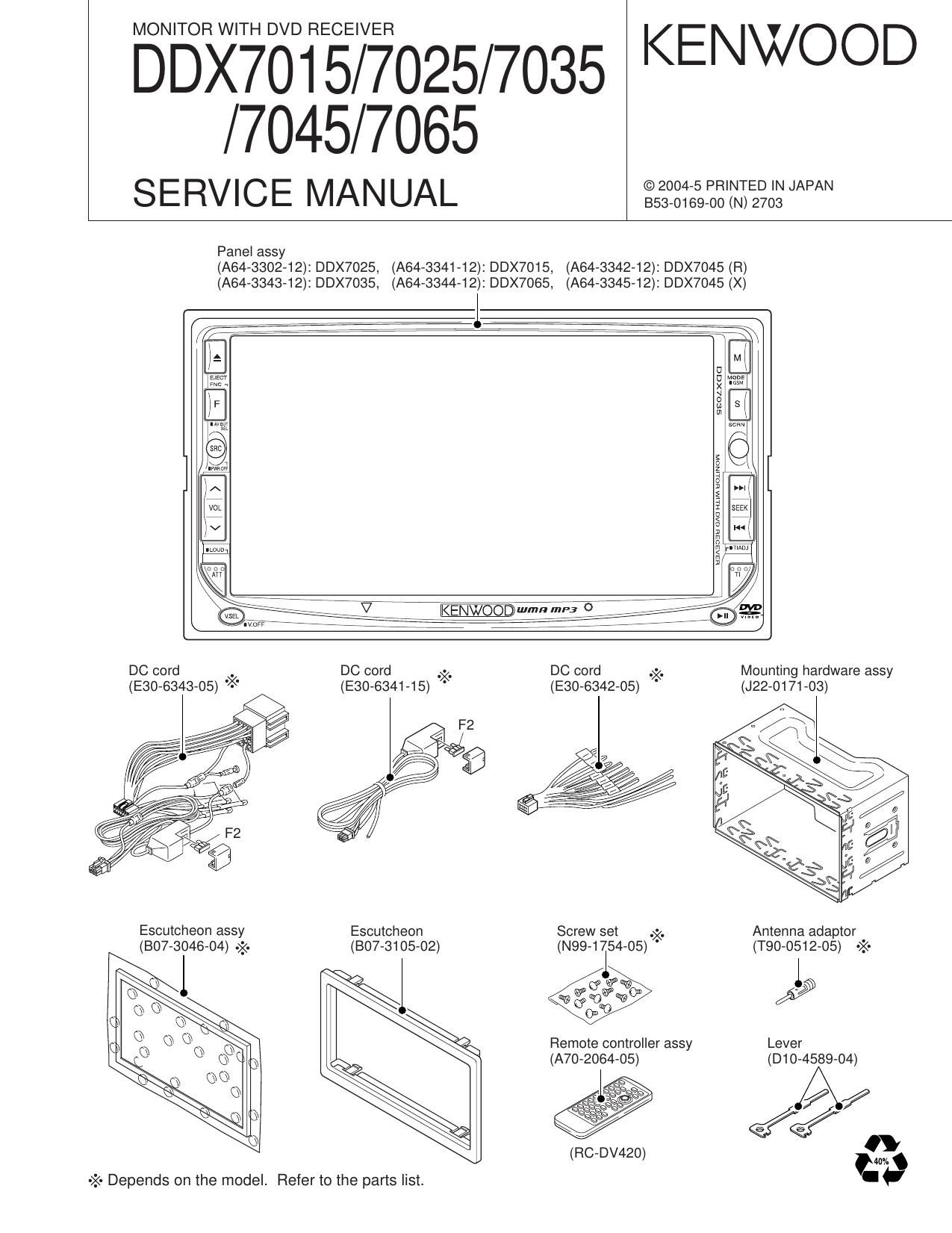 kenwood ddx 7035 service manual rh audioservicemanuals com Kenwood DDX 917 Kenwood DDX Models