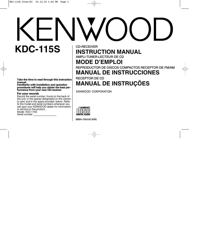 kenwood kdc 115s manual free owners manual u2022 rh wordworksbysea com Kenwood CD Player Wiring-Diagram Kenwood MP238 Manual