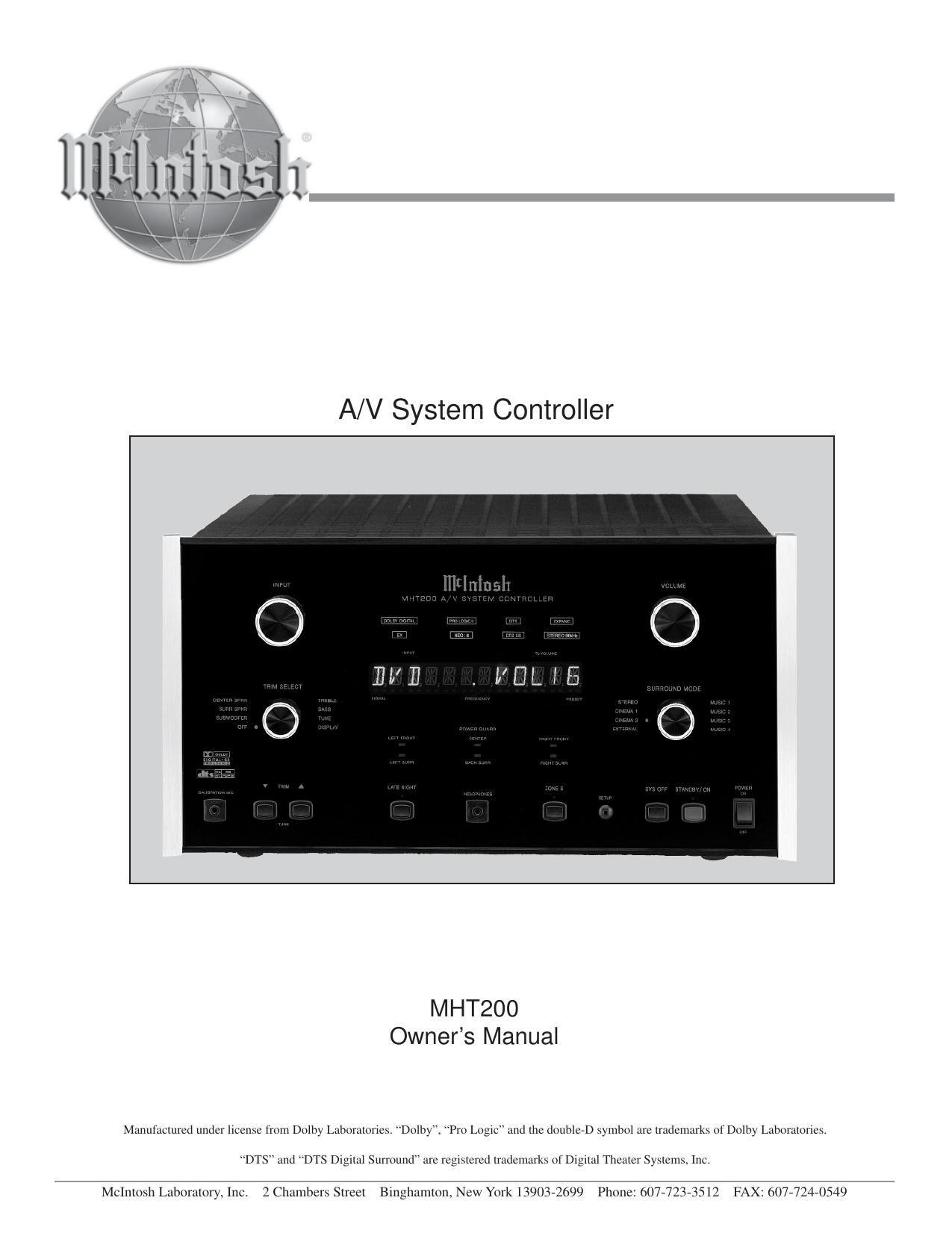 mcintosh mht 200 owners manual rh audioservicemanuals com McIntosh Receiver Surround McIntosh Stereo Receivers