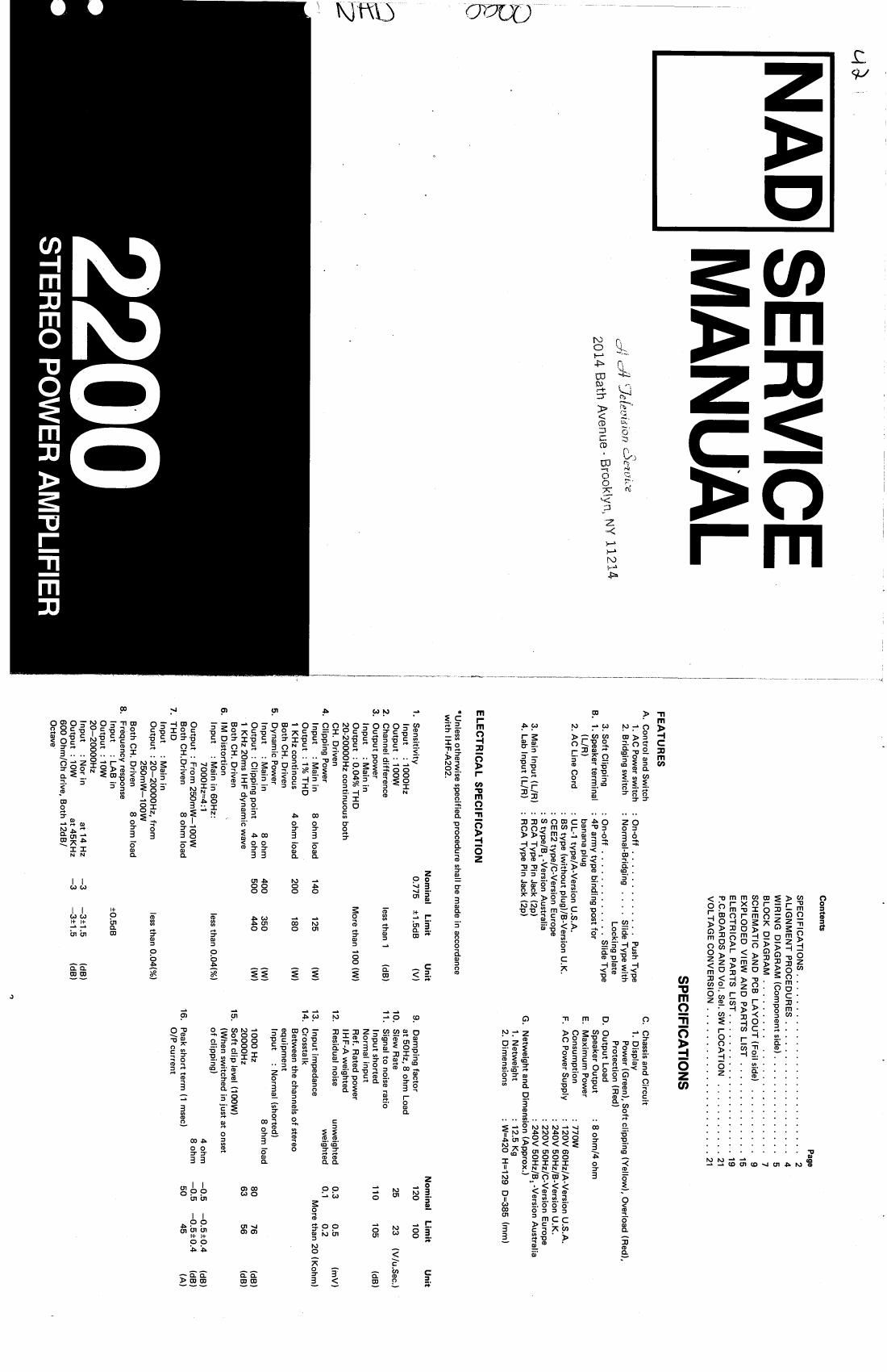 nad 2200 service manual rh audioservicemanuals com nad 2200 pe service manual Nad 2100 Stereo Power Amplifier