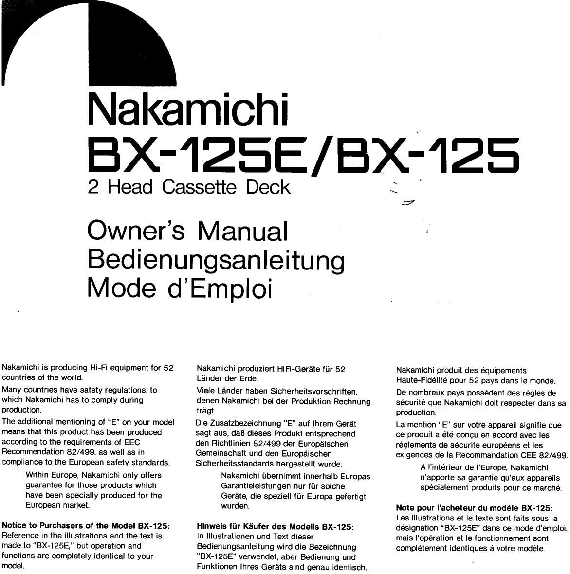 nakamichi bx 125 owners manual rh audioservicemanuals com Service Manuals Car Owners Manual