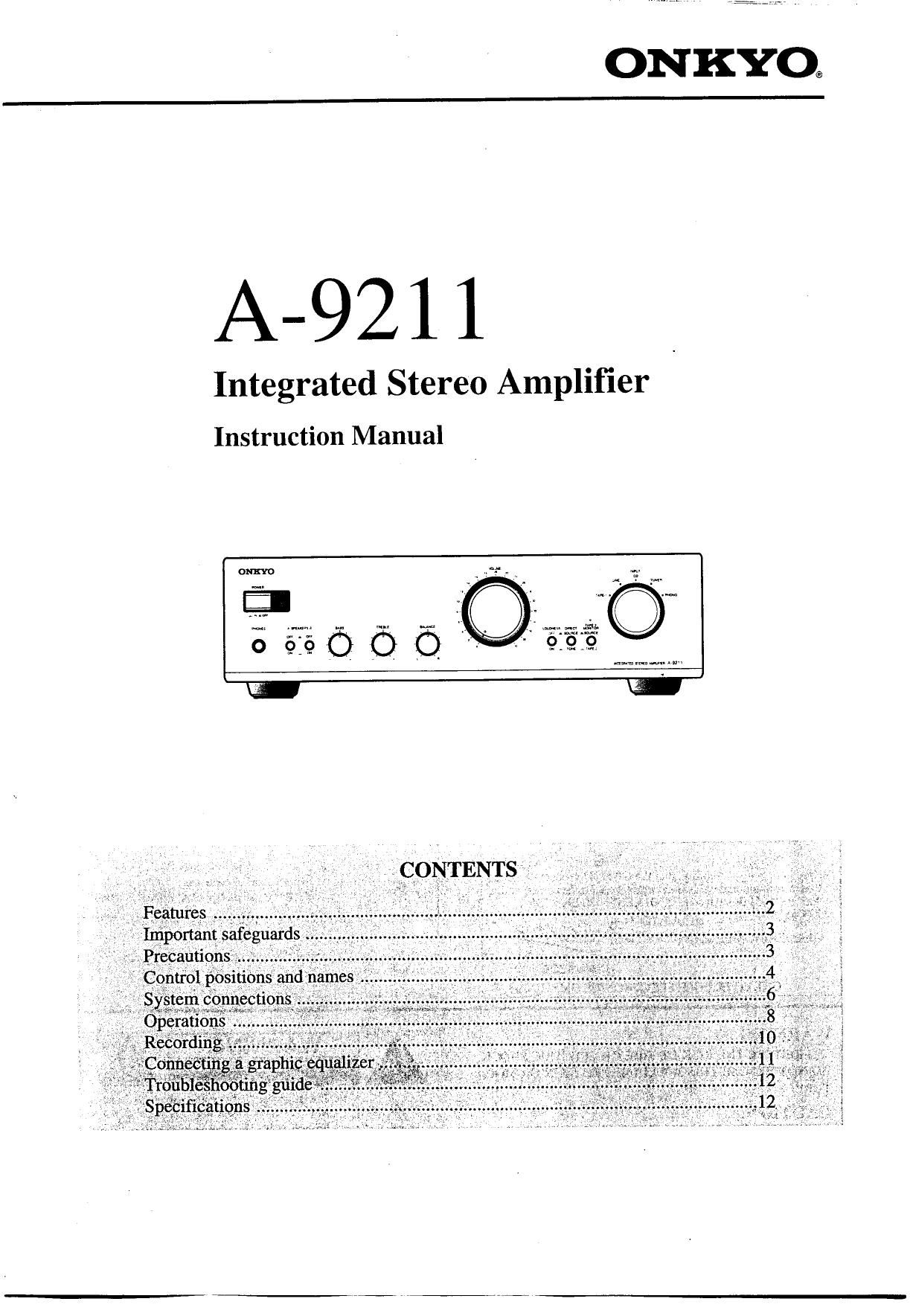onkyo a 9211 owners manual rh audioservicemanuals com onkyo owner manuals onkyo owners manual download