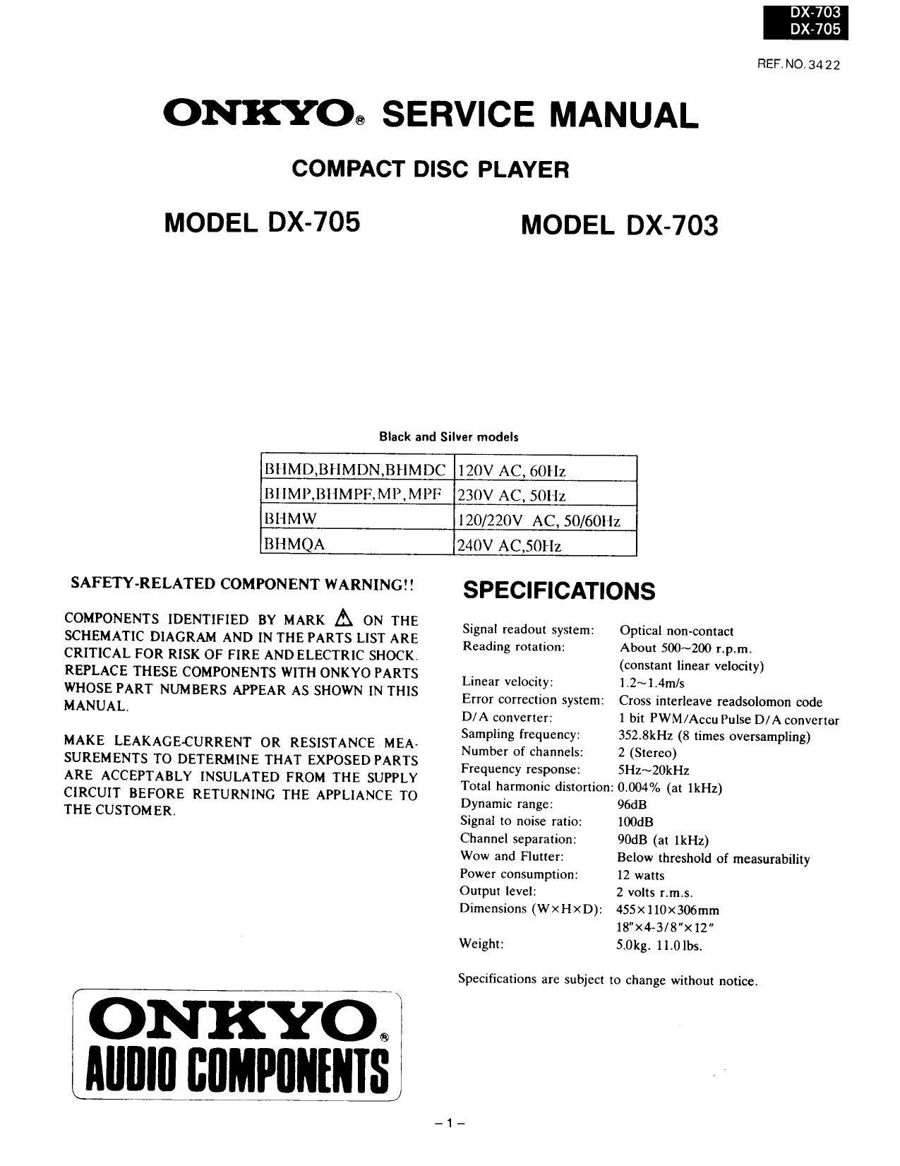 onkyo dx 705 service manual rh audioservicemanuals com