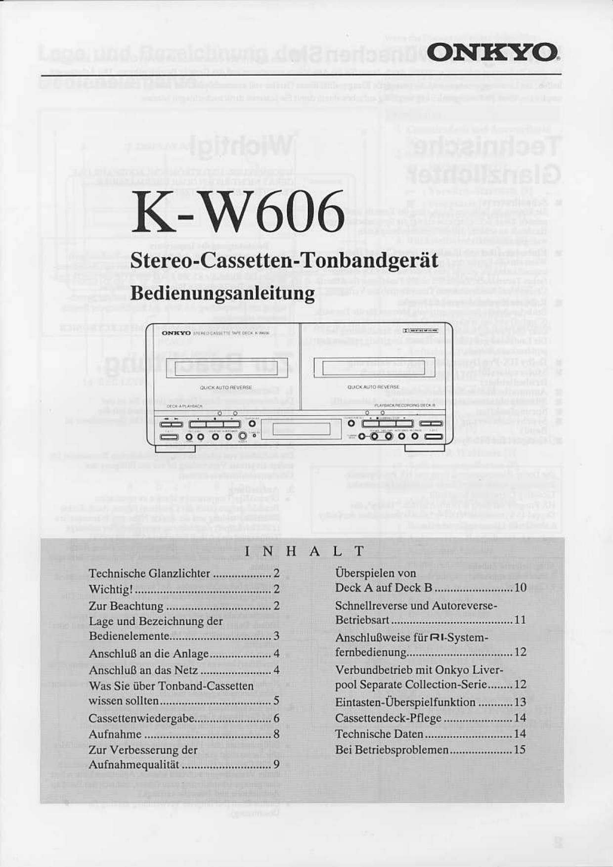 onkyo kw 606 owners manual rh audioservicemanuals com onkyo 626 owners manual onkyo user manual