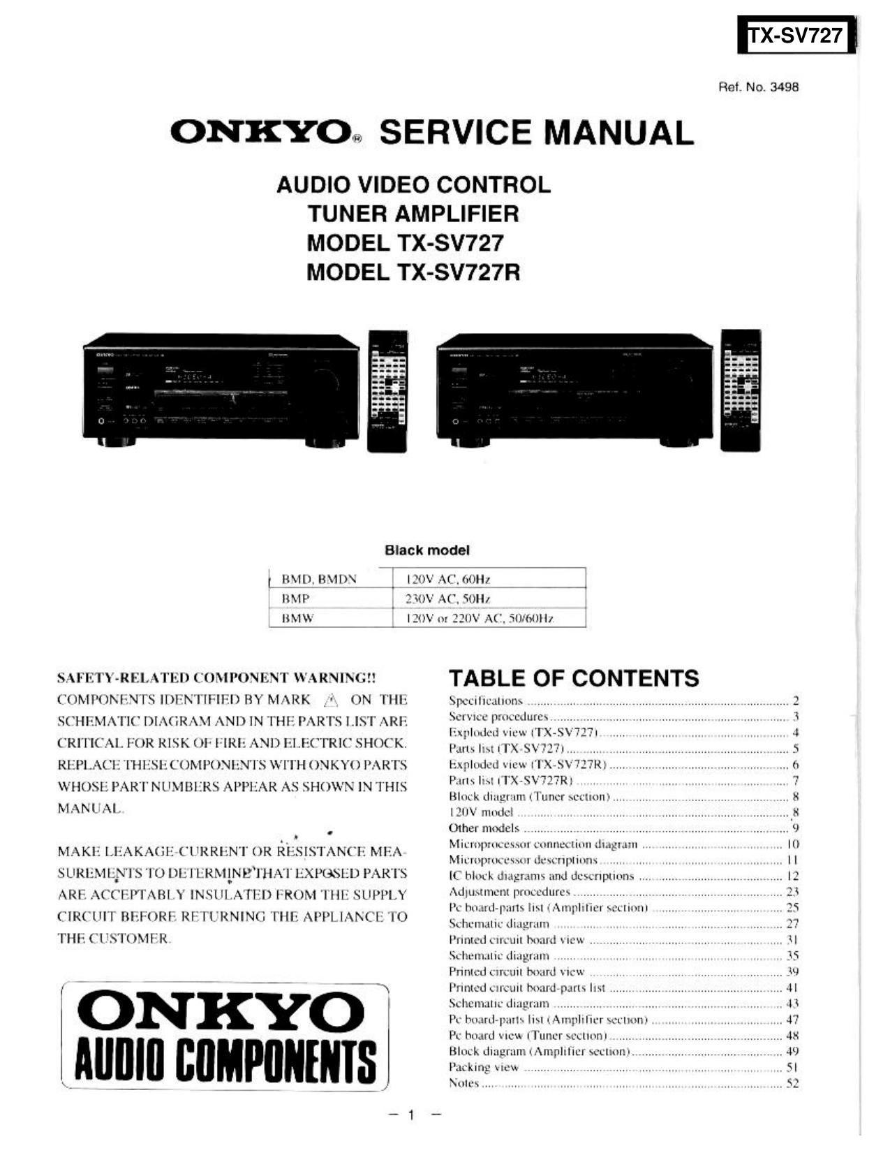 onkyo txsv 727 service manual rh audioservicemanuals com Onkyo TX Nr 838 Onkyo TX Sv727