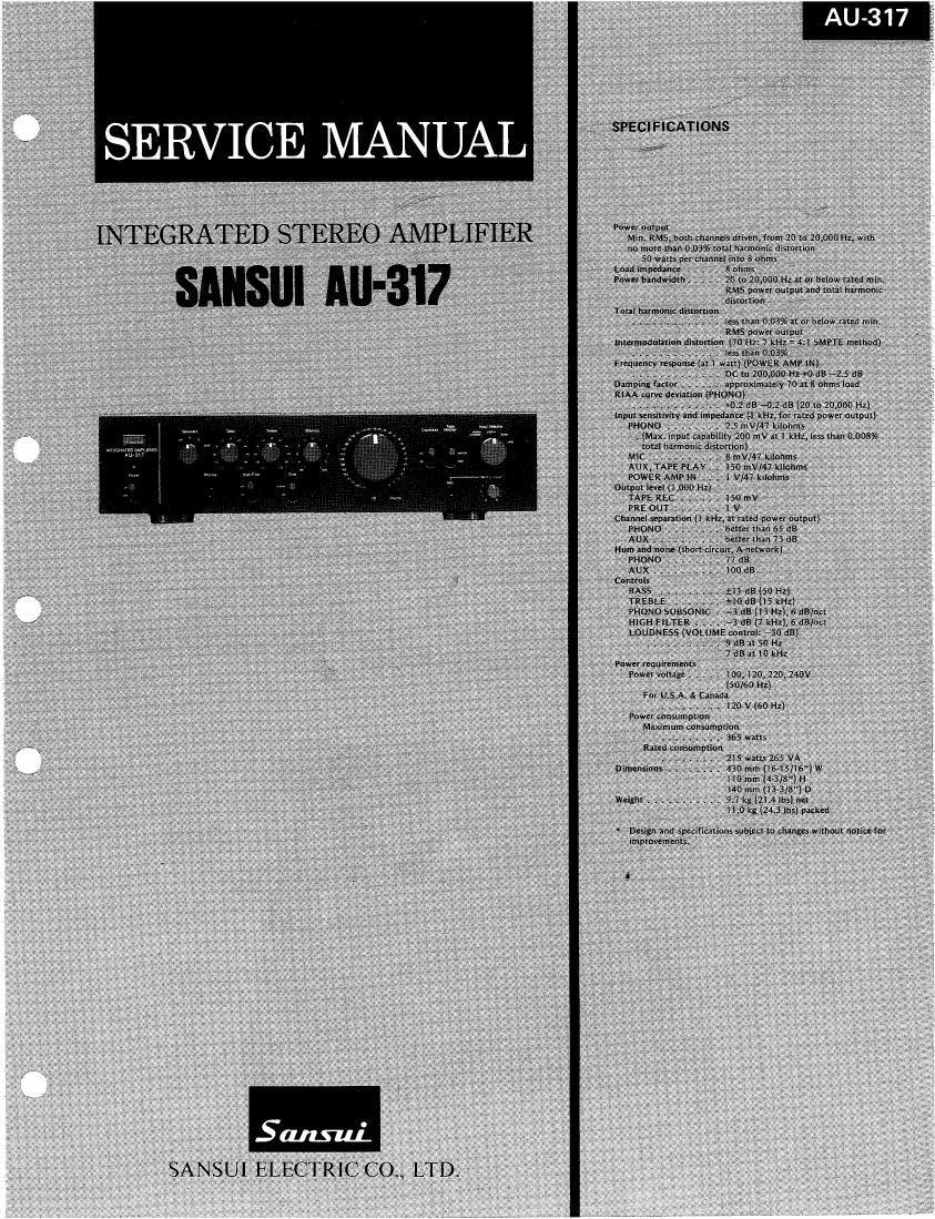 sansui au 317 service manual rh audioservicemanuals com sansui au 317 ii service manual Review Sansui AU 417