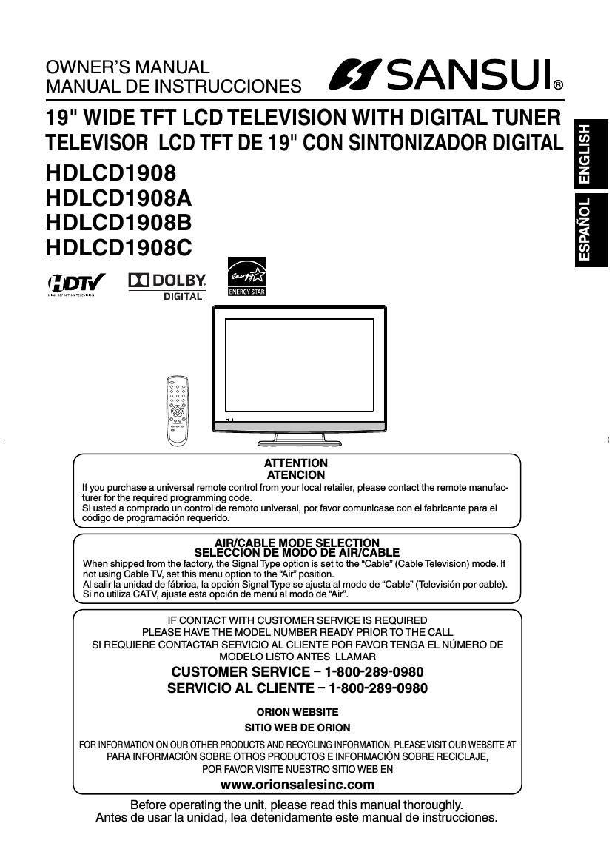 sansui hd lcd 1908b owners manual rh audioservicemanuals com Sansui Hdlcdvd260 Owner Manual Sansui Product Manuals