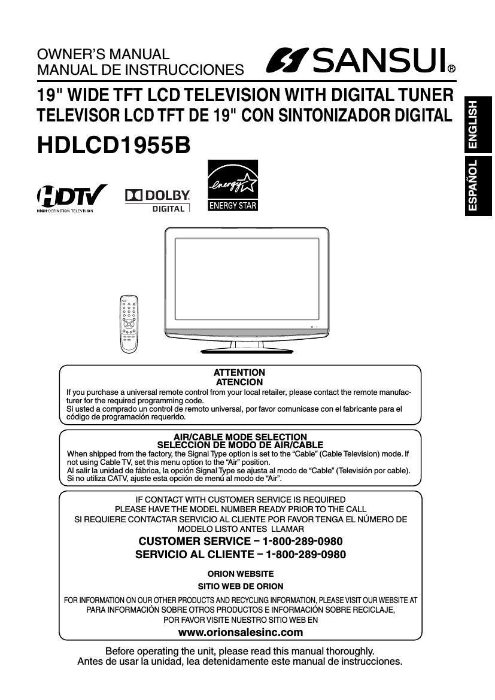 sansui hd lcd 1955b owners manual rh audioservicemanuals com sansui crt tv service manual sansui tv 2240 service manual