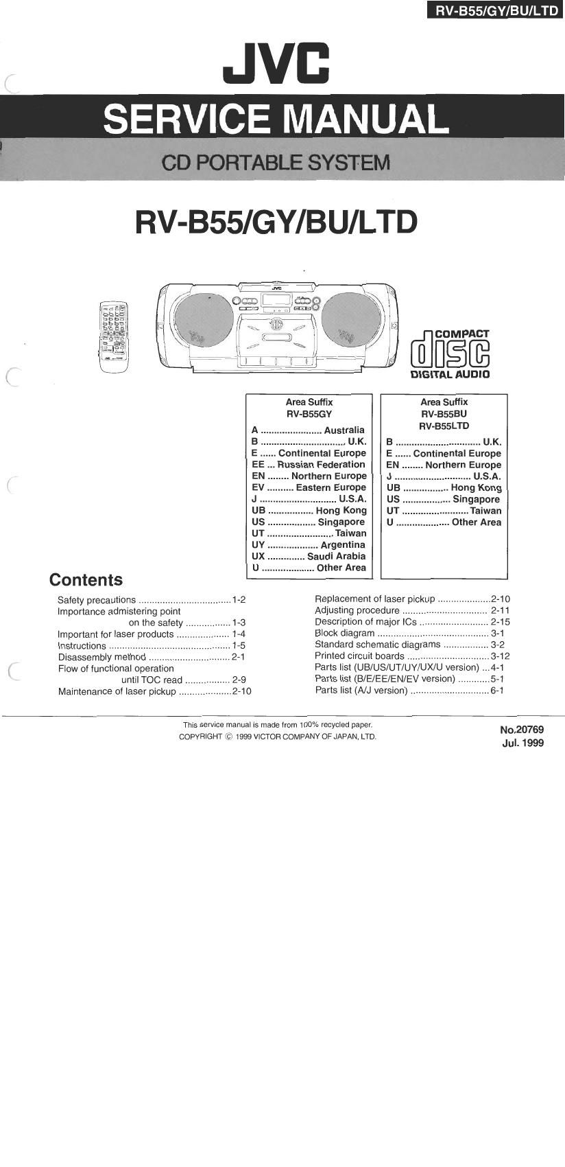Free download Jvc UX 1500 RGR Service Manual