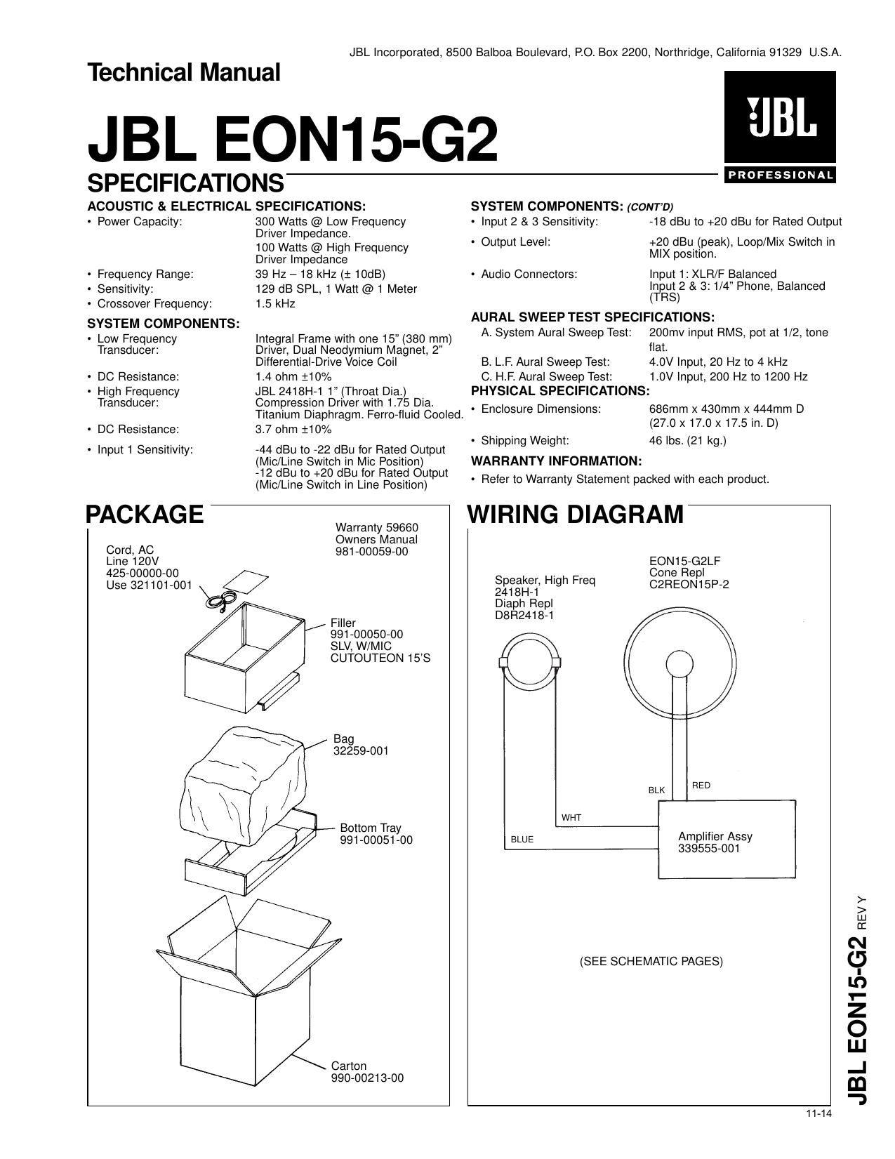 Jbl Manual Sb400 Powered Soundbar Schematic Circuit Diagram Electro Background Image Array Eon 15 G2 Owners Rh Audioservicemanuals