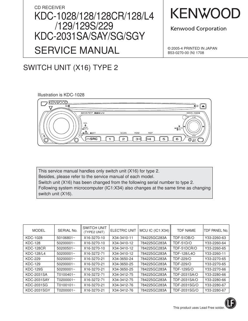 Kenwood Kdc 1028 Wiring Diagram And Schematics 122 352u Rh 10tenmag Cd Receiver Manual Stereo Ultimate
