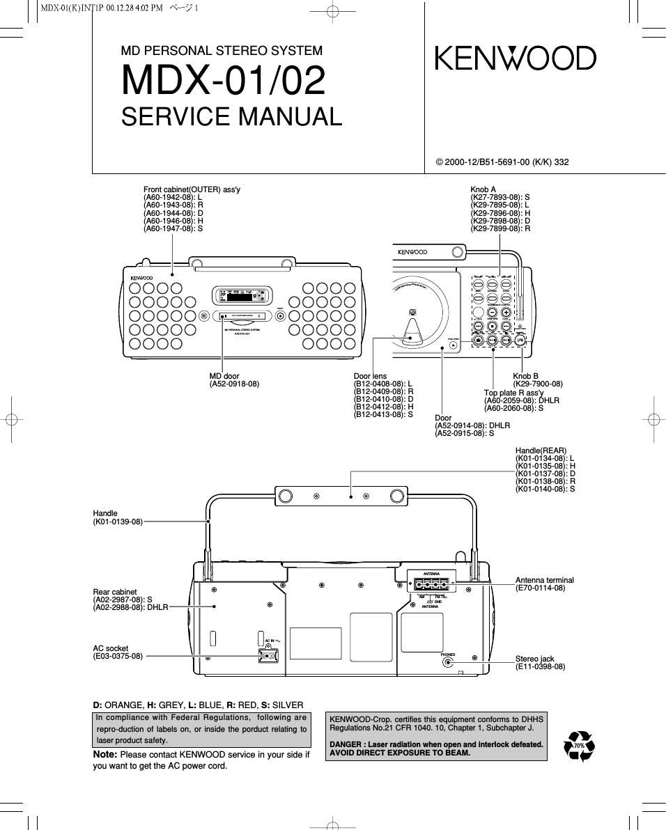 Mdx Manual Sony C800rec Wiring Harness Array Kenwood 01 Service Rh Audioservicemanuals