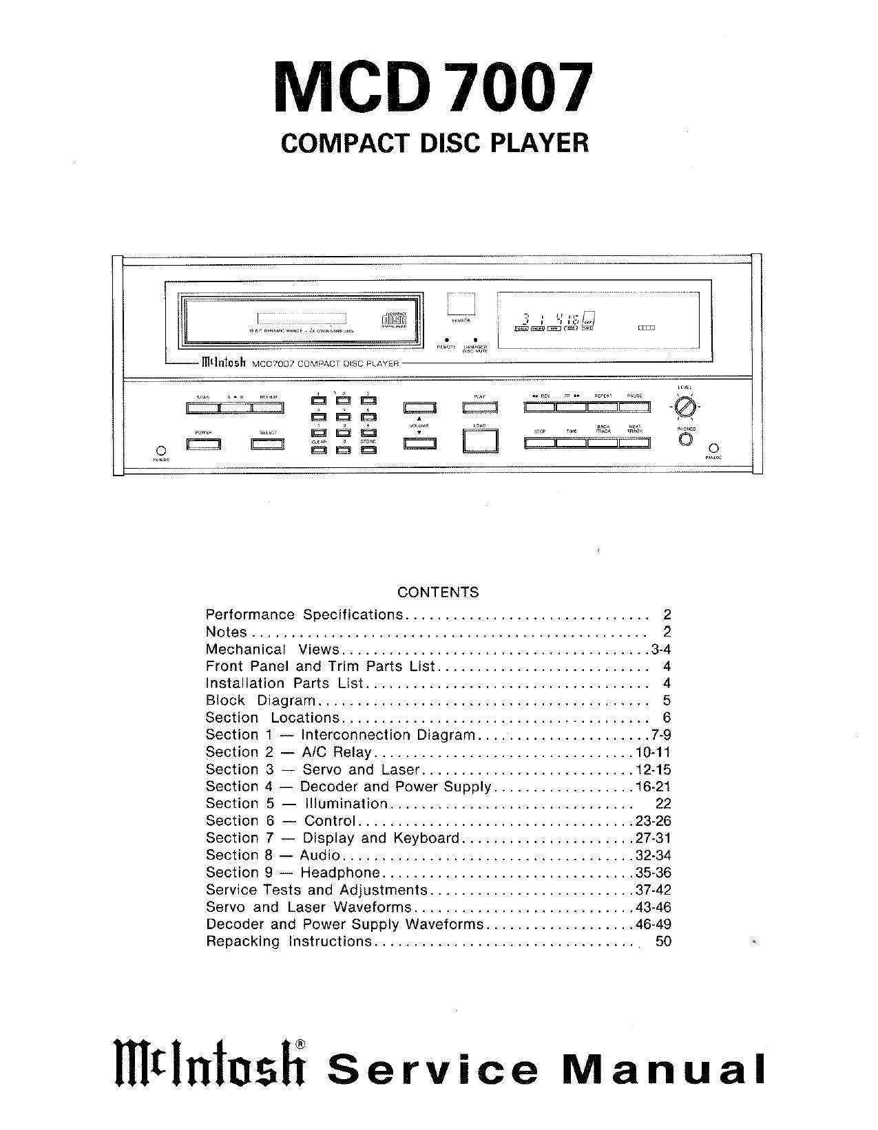 McIntosh MCD 7007 Service Manual