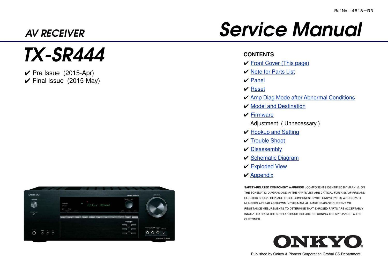 Onkyo Txsr 444 Service Manual Wiring Diagram