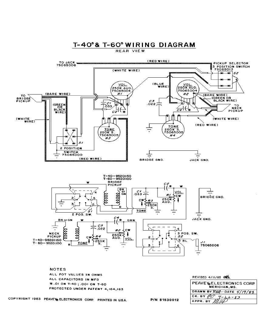 Free download Peavey T 40 T 60 Wiring DiagramsAudio Service Manuals
