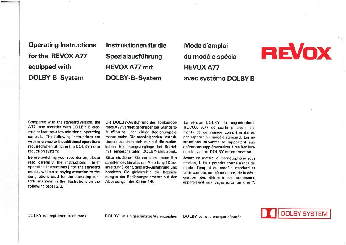 Free Download Revox A 77 Dolby B Owners Manual