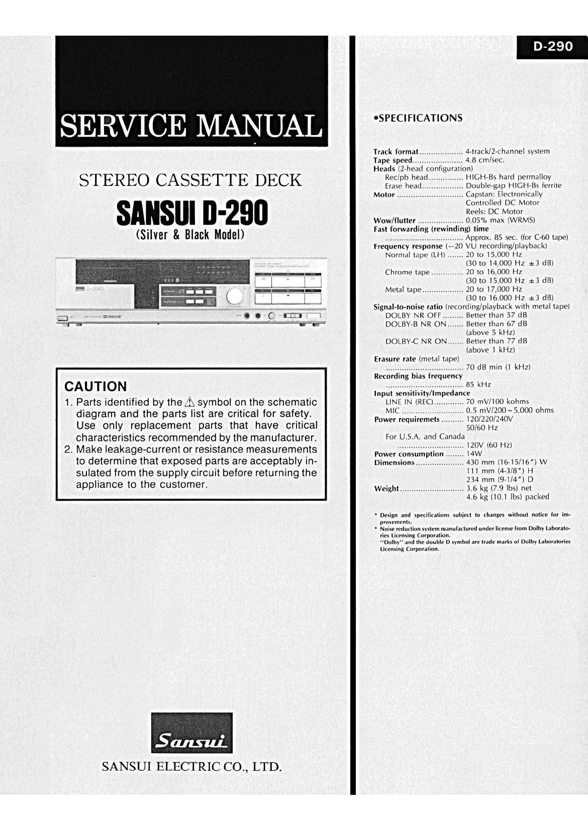 Free Download Sansui D 290 Service Manual