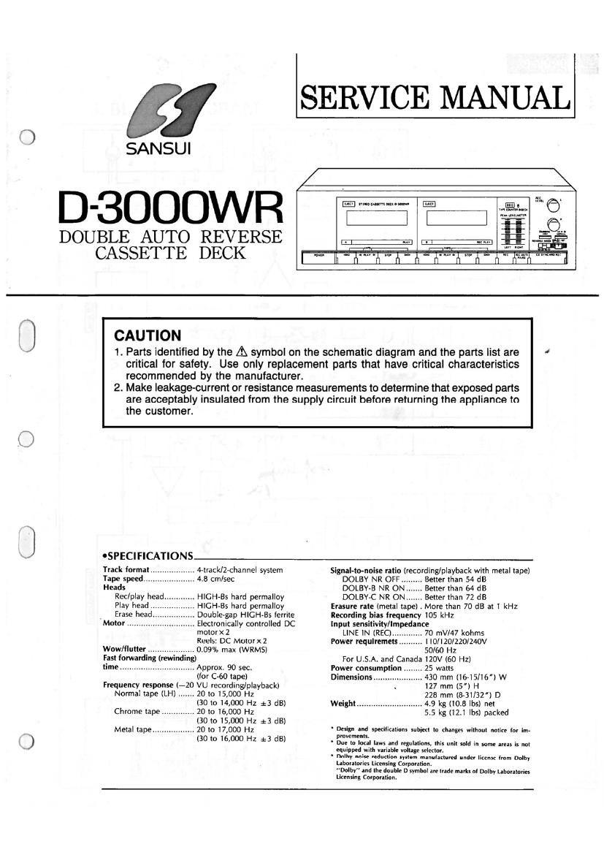 Download Sansui D 3000 Wr Service Manual