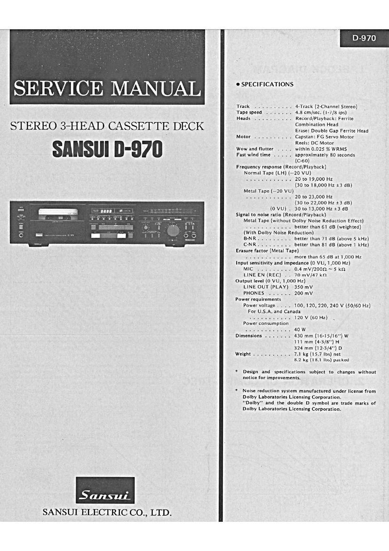 Download Sansui D 970 Service Manual