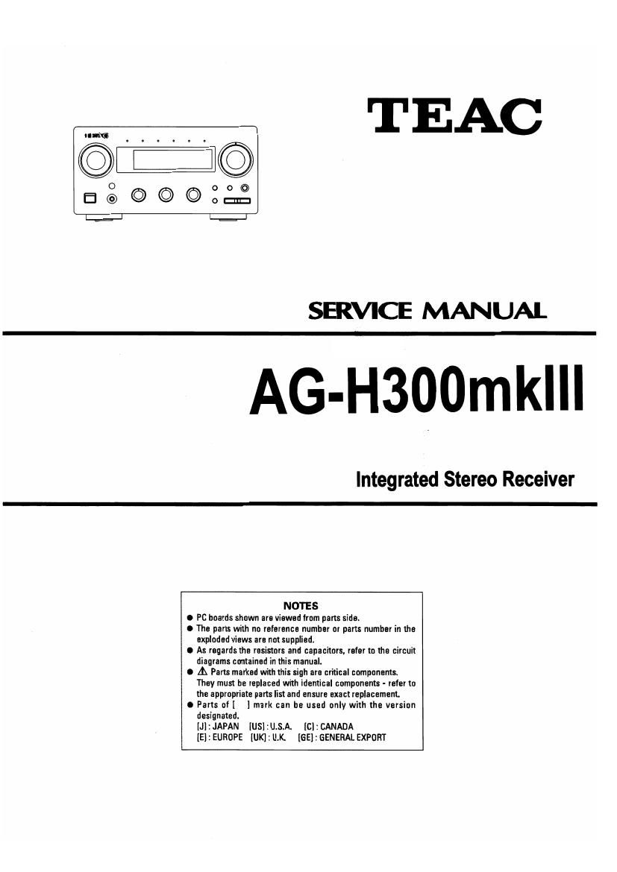 Teac AG H300 Mk3 Service Manual