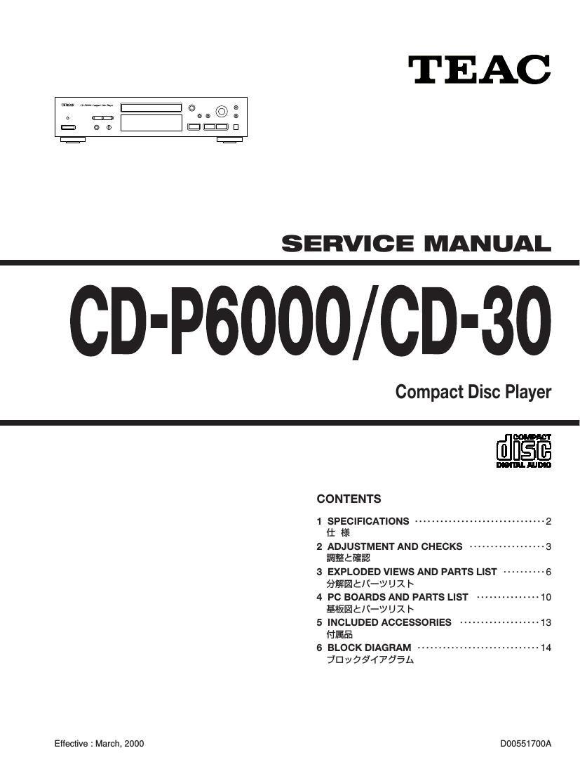 Teac CD 30 CDP 6000 Service Manual