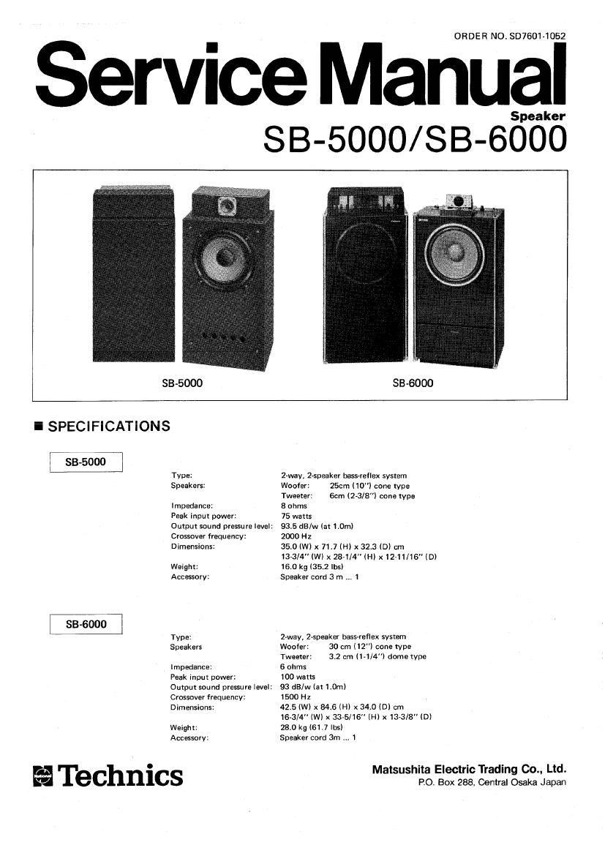 Technics SB 5000 SB 6000 Service Manual